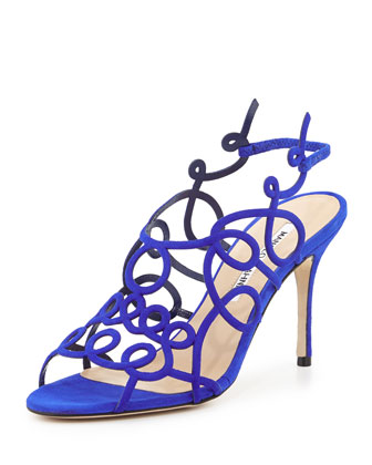 Gori Suede Squiggly Sandal, Blue