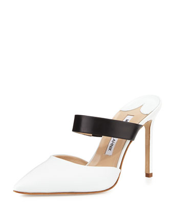 Trovina Two-Tone Leather Point-Toe Mule, Black/White
