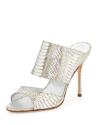 Ripta Metallic Snake Slide Sandal, Silver