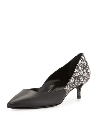 Graphic-Printed Leather Pump, Black/White