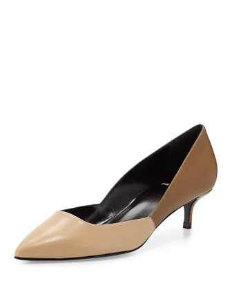 Bicolor Leather Low-Heel Pump, Beige