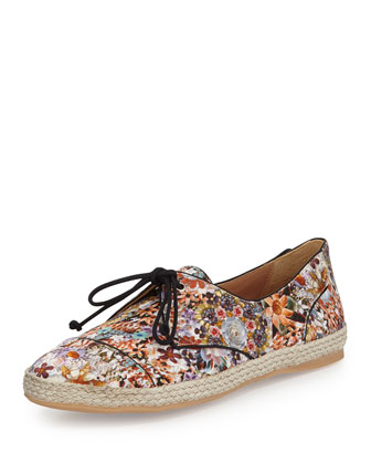 Dolly Floral-Print Satin Sneaker