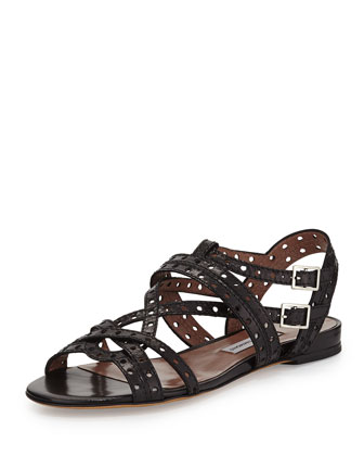 Felicity Perforated Leather Sandal, Black