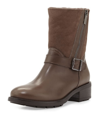 Saphire Shearling-Lined Ankle Boot, Taupe