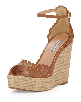 Harp Perforated Scalloped Leather Wedge, Brown