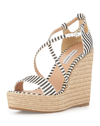Jenny Striped Crisscross Wedge Sandal