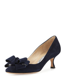 Lisane Suede Bow Kitten Heel Pump, Navy