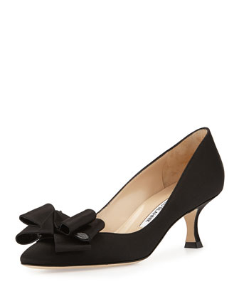 Lisane Satin Bow Kitten Heel Pump, Black