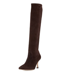 Pascalare Stretch-Suede Point-Toe Knee Boot, Dark Brown