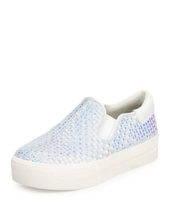 Jungle Iridescent Skate Sneaker, White/Metallic