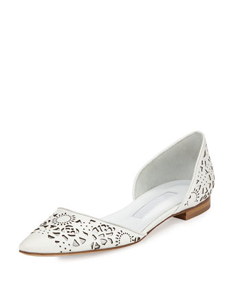Soussami Laser-Cut Point-Toe d'Orsay Flat, White