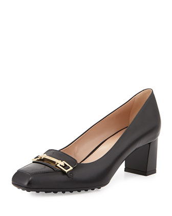 T-Bar Low-Heel Pump, Black