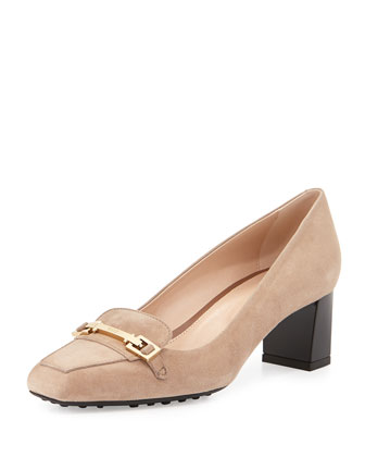 T-Bar Suede Low-Heel Pump, Brown