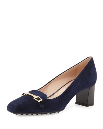 T-Bar Suede Low-Heel Pump, Navy