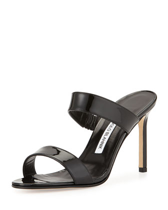 Muluca Patent Double-Band Sandal, Black