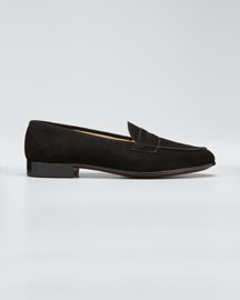 Suede Penny Keeper Loafer, Black