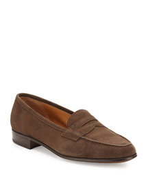 Suede Penny Keeper Loafer, Medium Brown