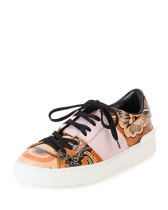 Printed Leather Open-Laced Low-Top Sneaker, Black Pattern