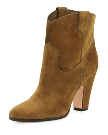 Suede Western Bootie, Luggage, Black