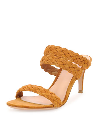 Suede Triple-Band Braided Sandal, Medium Brown