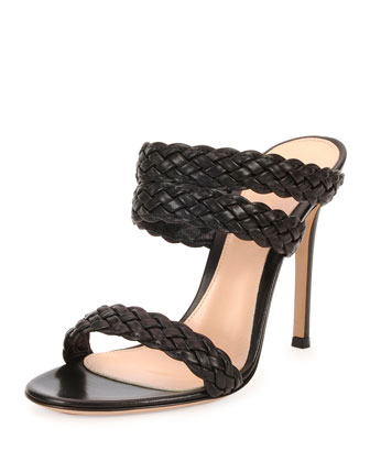 Suede Triple-Band Braided Sandal, Black