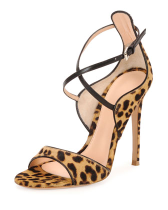 Leopard-Print Calf Hair Cross-Strap Sandal