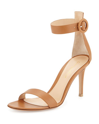 Leather Ankle-Strap Simple Sandal, Almond