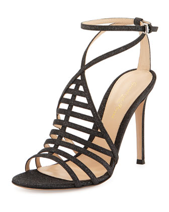 Glitter T-Strap Caged Sandal, Black