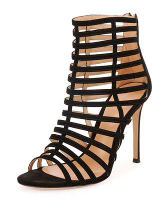 Caged Suede Stiletto Sandal, Black