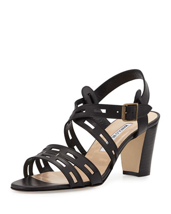 Essa Leather Cutout Sandal, Black