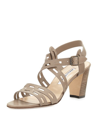 Essa Leather Cutout Sandal, Taupe