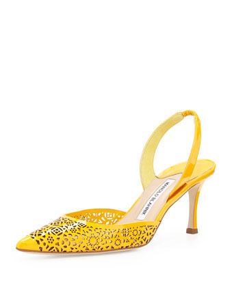 Carolyne Laser-Cut Slingback Pump, Yellow