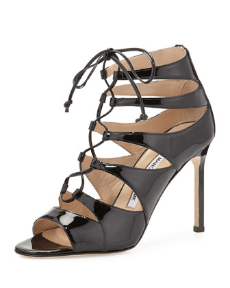 Maisa Patent Lace-Up Sandal, Black