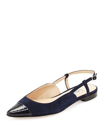 Prizzi Suede Cap-Toe Slingback Flat, Navy