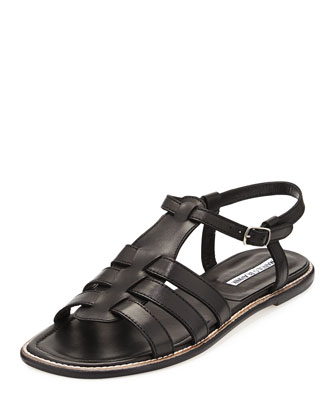 Canale Flat Cage Sandal, Black