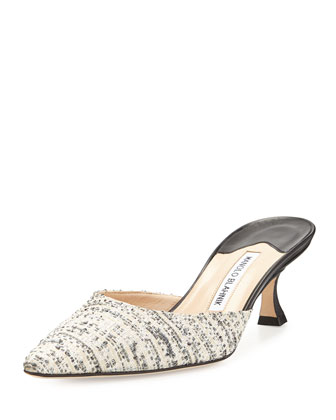 Carolyne Tweed Mule Slide, Black/White