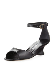Cobras Leather Demi-Wedge Sandal, Black