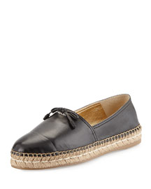 Leather Cap-Toe Flat Espadrille, Black (Nero)