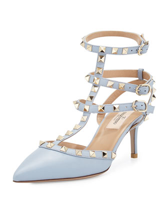 Rockstud Leather Mid-Heel Slingback, Blue
