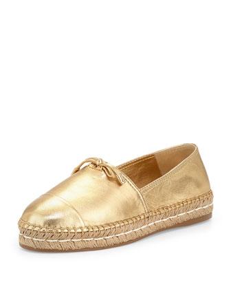 Metallic Leather Cap-Toe Flat Espadrille, Gold