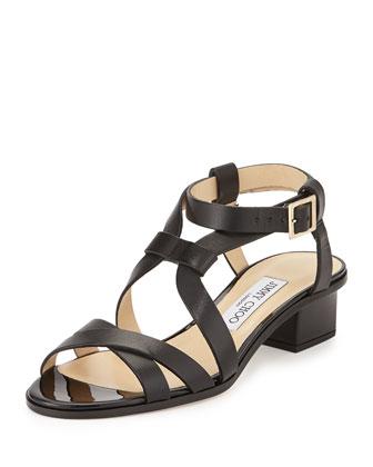 Mitsu Strappy Leather Sandal, Black