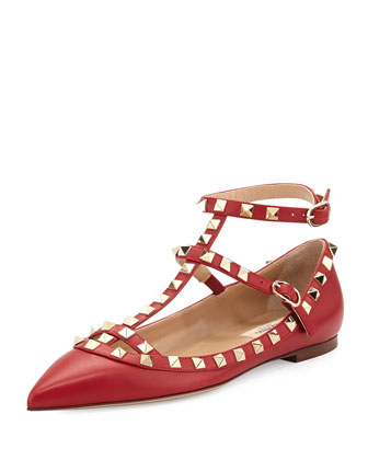 Rockstud Cage Leather Ballerina Flat, Red