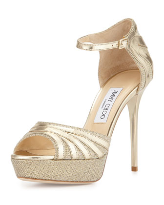Deema Metallic Ankle-Strap Sandal, Gold