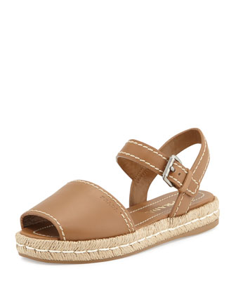 Double-Band Flat Espadrille, Tan