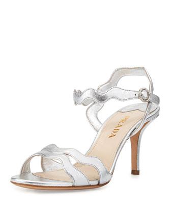 Metallic Wavy Strap Sandal, Silver