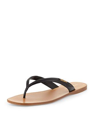 Patent Leather Logo Thong Sandal, Black