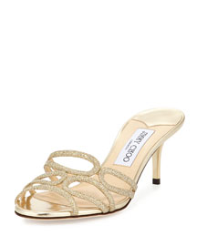 Lentar Glittered Leather Mule, Gold
