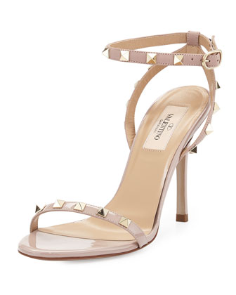Rockstud Leather Ankle-Wrap Sandal, Neutral