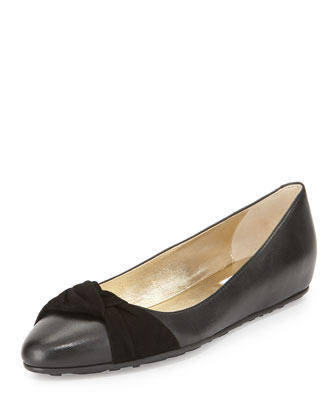 Warp Leather Ballerina Flat, Black