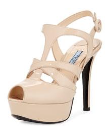 Crisscross Strappy Patent Sandal, Neutral